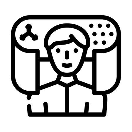 augmented reality app line icon vector illustration