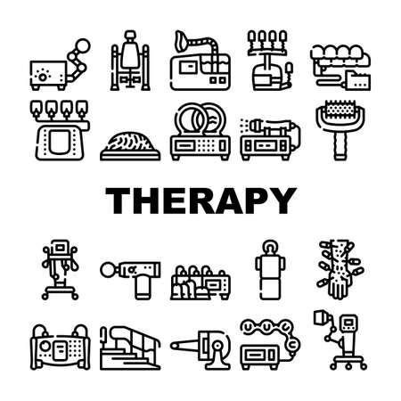 Physical Therapy Aid Collection Icons Set Vector Illustration
