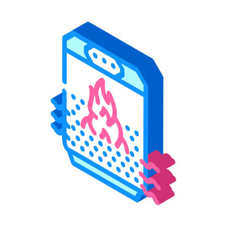 air heating isometric icon vector illustration color