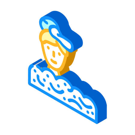 foam party in night club isometric icon vector illustration