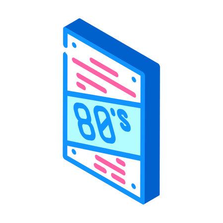 poster disco 80s isometric icon vector illustration