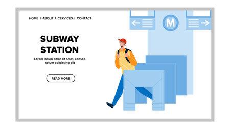 Subway Station Entry System Pass Passenger Vector Ilustração Vetorial