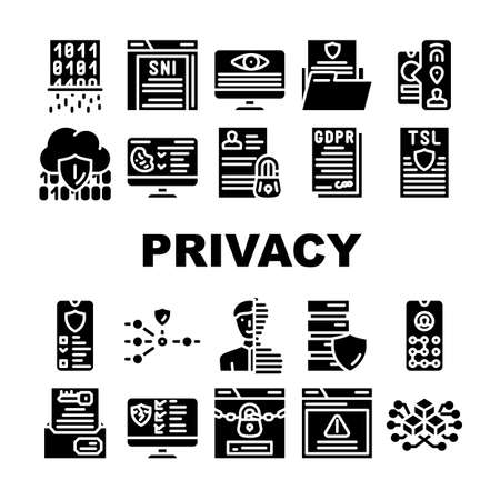 Privacy Policy Protect Collection Icons Set Vector