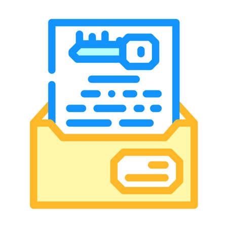 digital encryption key color icon vector illustration