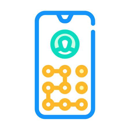 picture password color icon vector illustration line