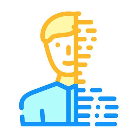 digital portrait color icon vector illustration line
