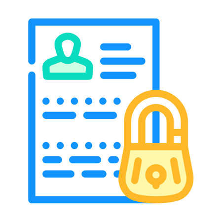 personal data protection color icon vector illustration
