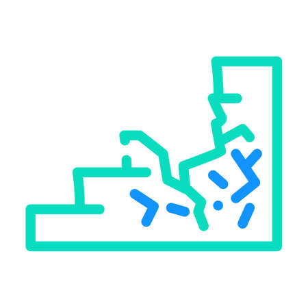 damaged stair color icon vector illustration line