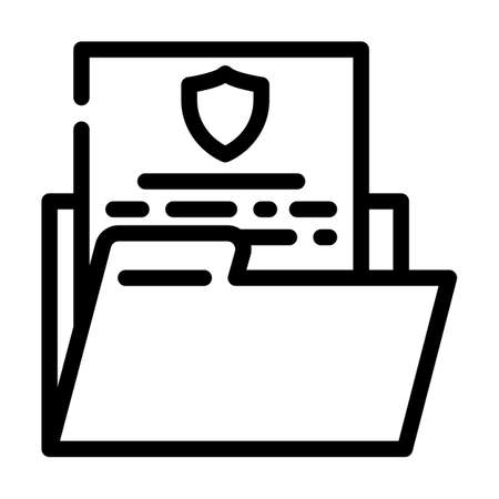 data protection line icon vector illustration line