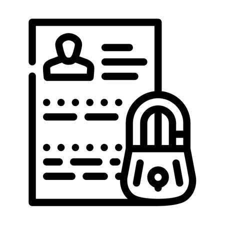 personal data protection line icon vector illustration