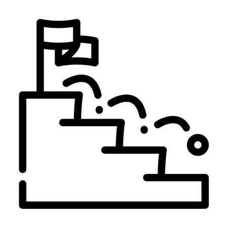 ball falling on stairs line icon vector illustration