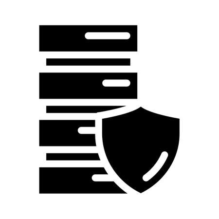 server protection glyph icon vector illustration sign