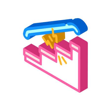 repair of steps hallways isometric icon vector illustration