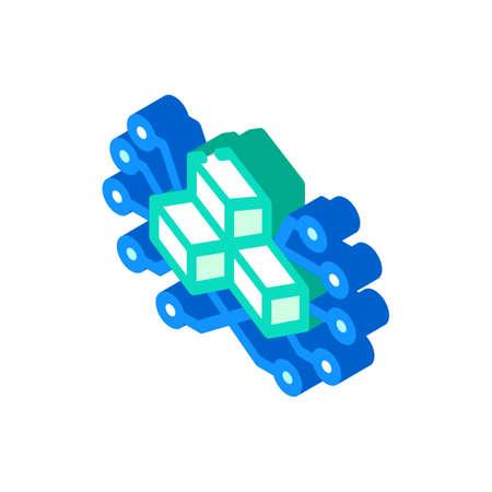 blockchain blocks isometric icon vector illustration sign