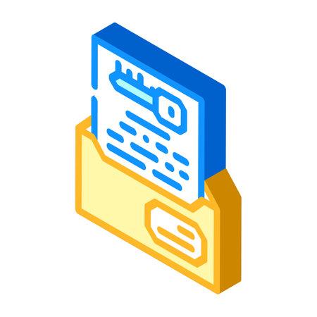 digital encryption key isometric icon vector illustration