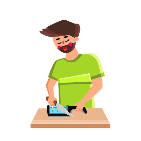 Knife Sharpener Man Use For Prepare Utensil Vector. Young Boy Chef Using Kitchen Tool For Sharpening Steel Knife Kitchenware. Character Preparing Metallic Equipment Blade Flat Cartoon Illustration