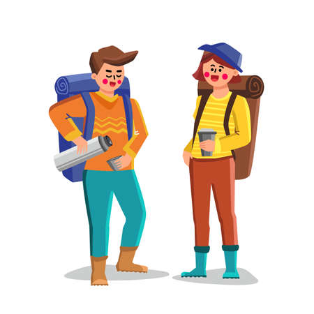 Travel Mug For Carry And Drinking Hot Drink Vector. Man And Woman Tourists Filling Cups With Beverage From flask Travel Tool. Characters Travelers Thermo Bottle Flat Cartoon Illustration