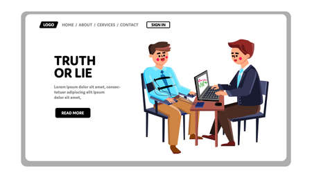 Truth Or Lie Examination Man On Polygraph Vector. Agent Testing Guy On Truth Or Lie, Special Digital Equipment For Getting Information. Characters Test On True Web Flat Cartoon Illustration