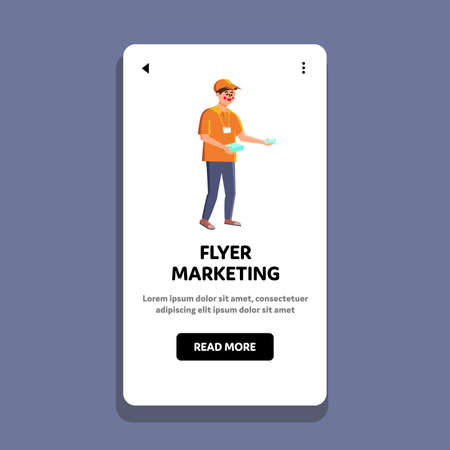 Flyer Marketing Promoter Man Distribution Vector. Flyer Marketing Company Service Worker Distributing Coupons To Customers. Character Advertising And Promotion Web Flat Cartoon Illustration