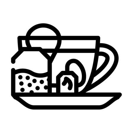 fat burning tea line icon vector. fat burning tea sign. isolated contour symbol black illustration