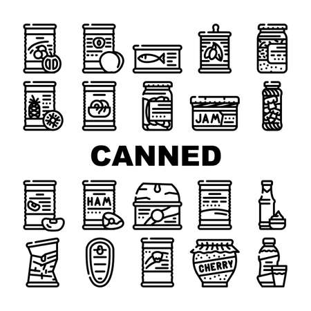 Canned Food Nutrition Collection Icons Set Vector. Canned Peach And Pineapple, Salted Cucumbers And Mushrooms, Sauce And Syrup Black Contour Illustrations Ilustración de vector