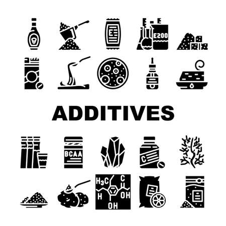 Food Additives Formula Collection Icons Set Vector. Corn Syrup And Sugar Substitute, Chemical Inventory And Amino Acids Food Additives Glyph Pictograms Black Illustrations