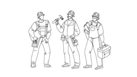 Builders With Building Equipment And Plan Black Line Pencil Drawing Vector. Builders Men Wearing Uniform And Protection Hat Holding Tool Box And Build Documentation Draft. Characters Foremen Illustration