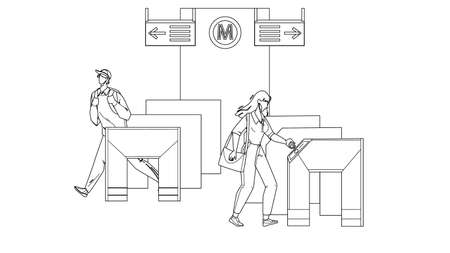 Entry Metro People Pass Through Turnstiles Black Line Pencil Drawing Vector. Man And Woman Passing Entry Metro Equipment For Control Direction Of Movement. Characters And Subway Security System Illustration