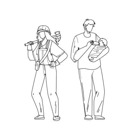 Gender Equality Relationship Man And Woman Black Line Pencil Drawing Vector. Young Girl With Equipment Hard Working And Boy Father Feeding Newborn Baby, Gender Equality. Characters Illustration