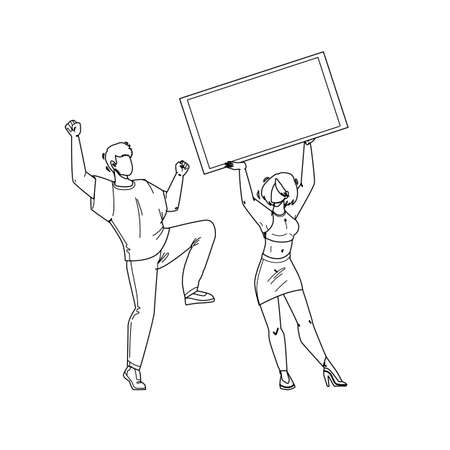 Jackpot Win Money Lucky Boy And Girl Couple Black Line Pencil Drawing Vector. Young Man Dancing And Woman Holding Check, Celebrating Jackpot Win. Characters Winning Prize In Gambling Game Illustration 矢量图片