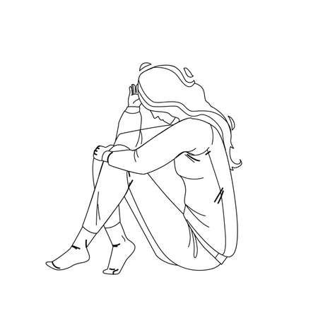 Loneliness Unhappy Woman Sitting On Floor Black Line Pencil Drawing Vector. Loneliness Sad Young Girl Touching Hair. Character Lady Psychological And Mental Troubles, Suffering From Bad Relationship Illustration