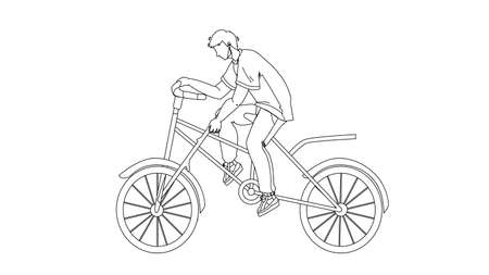 Stupidity Boy Put Spoke In Bicycle Wheel Black Line Pencil Drawing Vector. Stupid Man Bicycling And Putting Stick In Transport Wheel. Character Guy Riding Bike And Make Dangerous Action Illustration