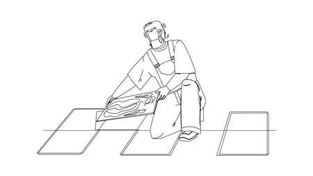 Tiler Man Installing Ceramic Floor Tiles Black Line Pencil Drawing Vector. Tiler Repairman Contractor Tilling Renovation Work. Character Handyman Installer Professional Flooring Working Illustration Vecteurs