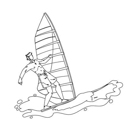 Windsurfing Man Surfer Athlete On Wavy Sea Black Line Pencil Drawing Vector. Sportsman Windsurfing On Wave Ocean Water. Character Young Boy Riding Windsurf Active Sportlife Time Lifestyle Illustration