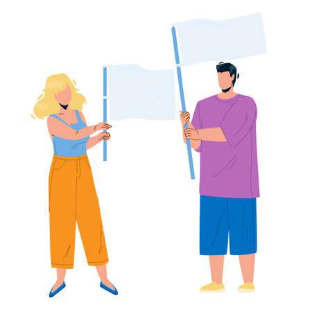 Flag Holding Boy And Girl Couple On Protest Vector. Young Man And Woman Hold Waving Flag Together On Meeting. Characters People Manifestation Or Demonstration Flat Cartoon Illustration