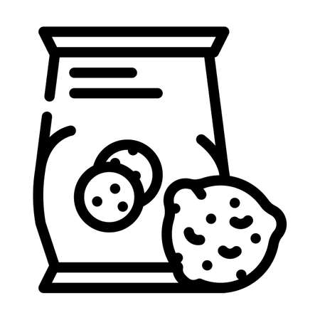 oatmeal cookies snack line icon vector. oatmeal cookies snack sign. isolated contour symbol black illustration