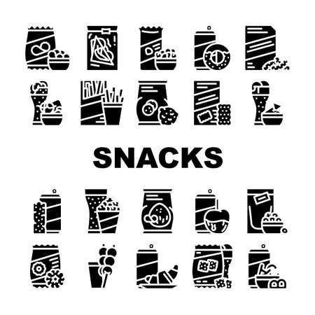 Snacks Food And Drink Collection Icons Set Vector. Dried Bananas And Caramel Fruits, Coconut Chips And Nuts, Donuts And Oatmeal Cookies Snacks Glyph Pictograms Black Illustrations