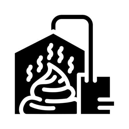 method of obtaining from feces biogas glyph icon vector. method of obtaining from feces biogas sign. isolated contour symbol black illustration Vektorgrafik