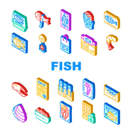 Fish Market Product Collection Icons Set Vector. Smoking And Frozen Fish, Octopus Tentacles And Peeled Shrimp Package, Store Aquarium And Pond Isometric Sign Color Illustrations