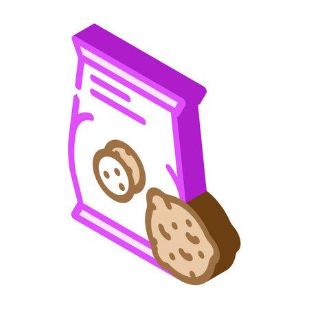 oatmeal cookies snack isometric icon vector. oatmeal cookies snack sign. isolated symbol illustration