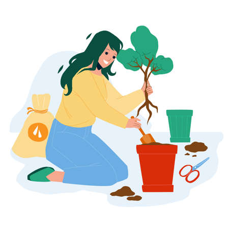 Replant Leaves Occupation Woman In Garden Vector. Young Girl Gardening And Replant Leaves In Pot. Character Lady Care Natural Growing Tree Plant, Home Planting Flat Cartoon Illustration