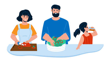 Kitchen Breakfast Preparing Family Together Vector. Mother Cutting Paprika Vegetable, Father Prepare Salad Breakfast And Daughter Drinking Juice. Characters Morning Food Flat Cartoon Illustration