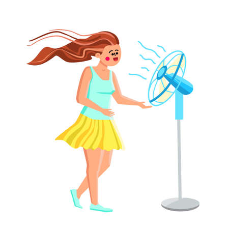 Fan Air Device Cool Enjoying Young Woman Vector. Fan Air Gadget Cooling Enjoy Girl With Floating Hair. Happy Smiling Character Relax Wind From Ventilator In Hot Weather Day Flat Cartoon Illustration