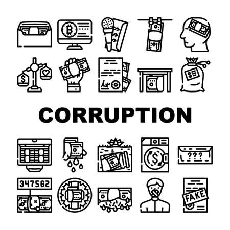 Corruption Problem Collection Icons Set Vector. Money Bag And Envelope, Corruption Scheme For Give Money And Purchase Of Document Contour Illustrations