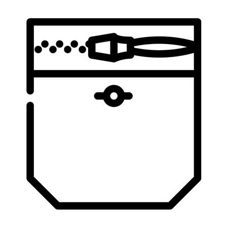 zipper lock pocket line icon vector. zipper lock pocket sign. isolated contour symbol black illustration