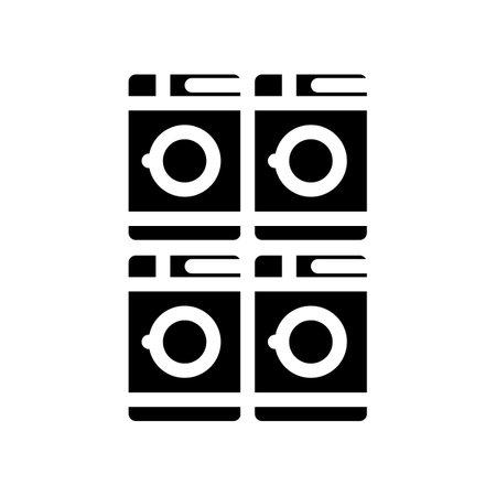 laundry service machines glyph icon vector. laundry service machines sign. isolated contour symbol black illustration
