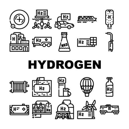 Hydrogen Energy Gas Collection Icons Set Vector. Hydrogen Fuel Station And Cylinder, Solar Panel Production And Factory Manufacturing Contour Illustrations
