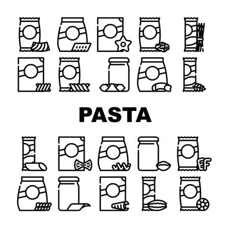 Pasta Food Package Collection Icons Set Vector. Gnocchetti Sardi And Rigatoni, Fusilli And Farfalle, In Spiral Form And Alphabet Shape Pasta Contour Illustrations