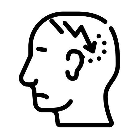 lightning neurosis or headache pain line icon vector. lightning neurosis or headache pain sign. isolated contour symbol black illustration