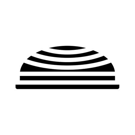 balancing hemisphere gym equipment glyph icon vector. balancing hemisphere gym equipment sign. isolated contour symbol black illustration Ilustración de vector